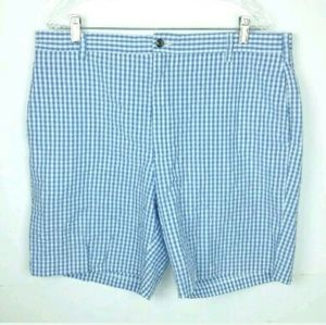 Charleston Khaki Gingham Blu White Shorts